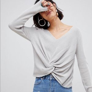 ASOS Gray Twist Front V Neck Sweater